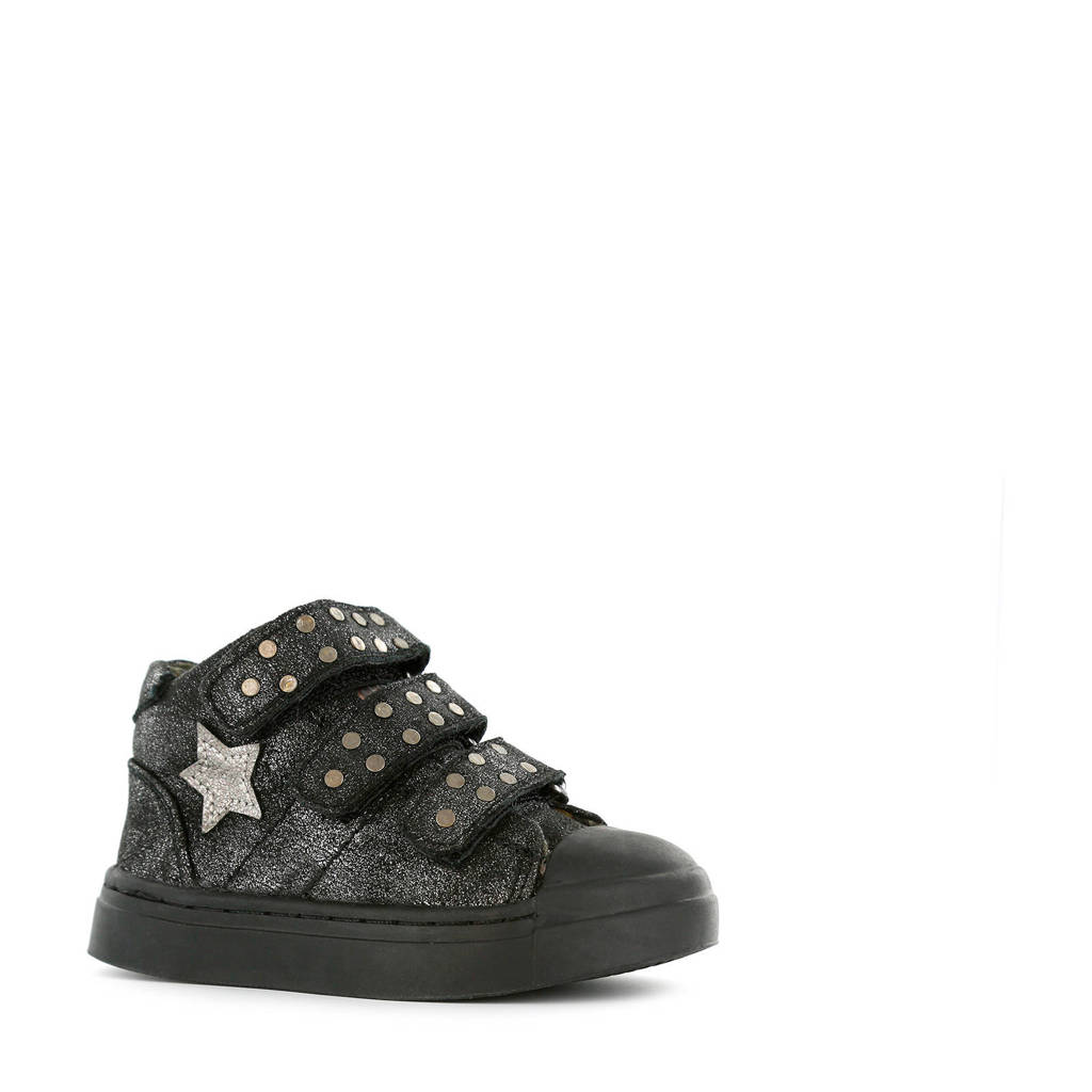 Shoesme SH9W021-C  leren sneakers zwart/glitters, Zwart