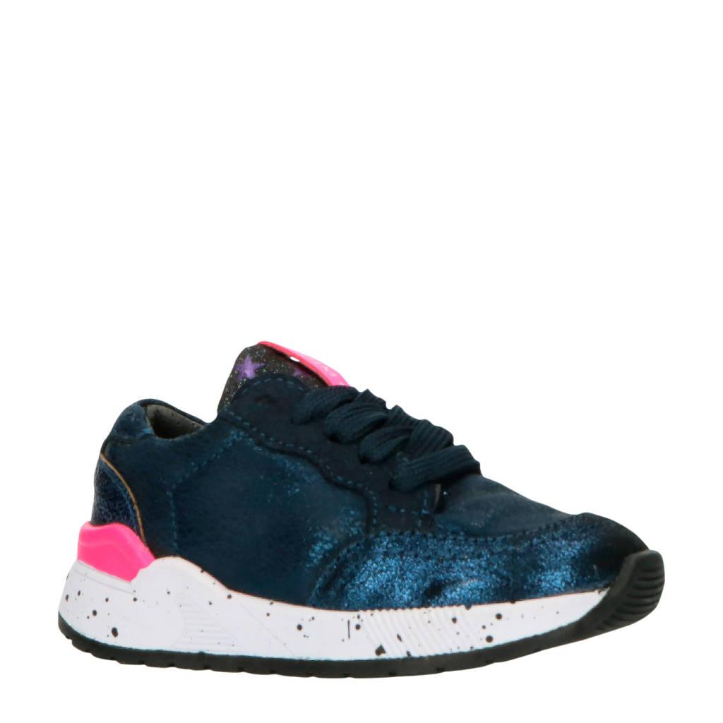 Shoesme ST9W033-D  leren sneakers blauw/roze, Blauw/roze