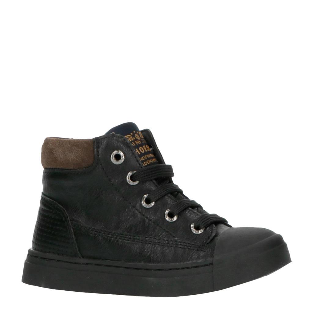 Shoesme SH9W030-C  halfhoge leren sneakers zwart, Zwart