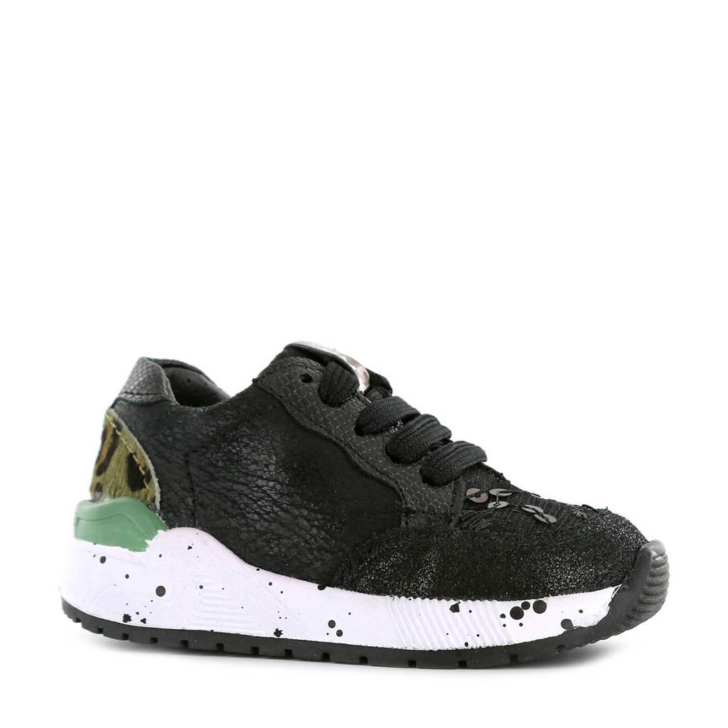 Shoesme ST9W033-A  suède sneakers panterprint/groen, Groen/zwart