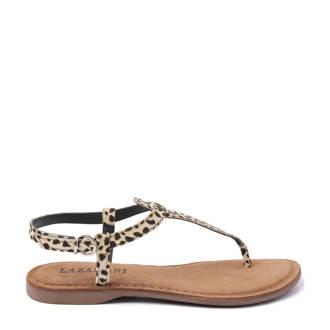leren sandalen met panterprint
