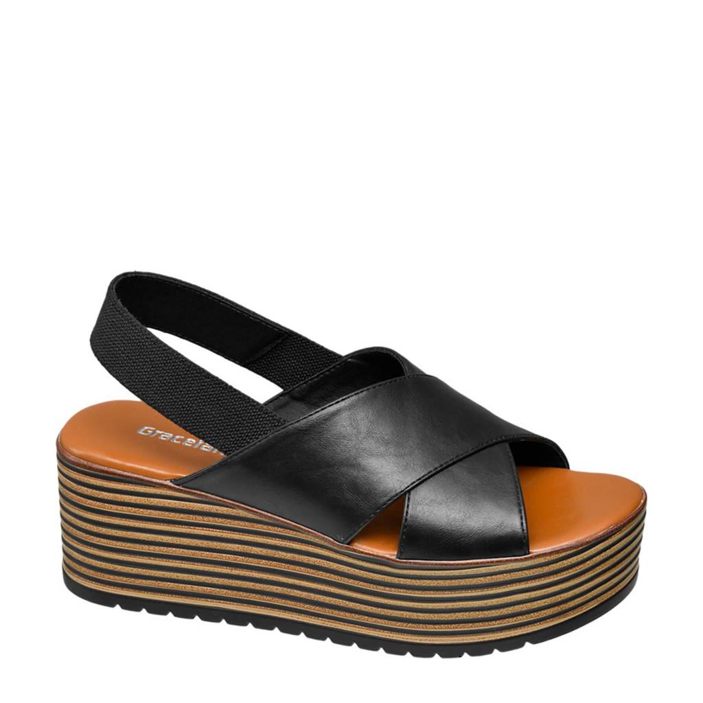 Graceland plateau sandalen zwart, Zwart