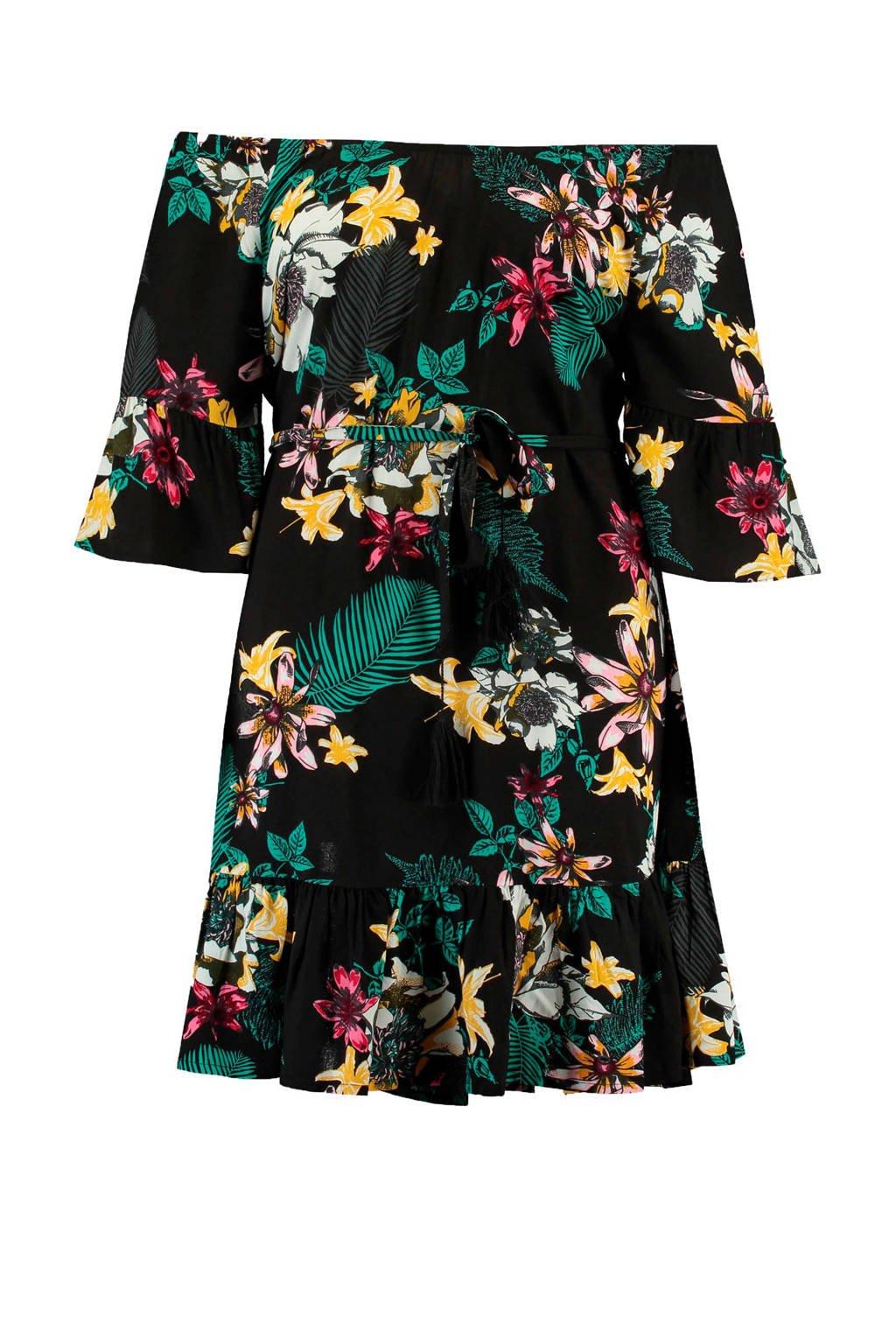 MS Mode gebloemde off shoulder jurk zwart, Zwart