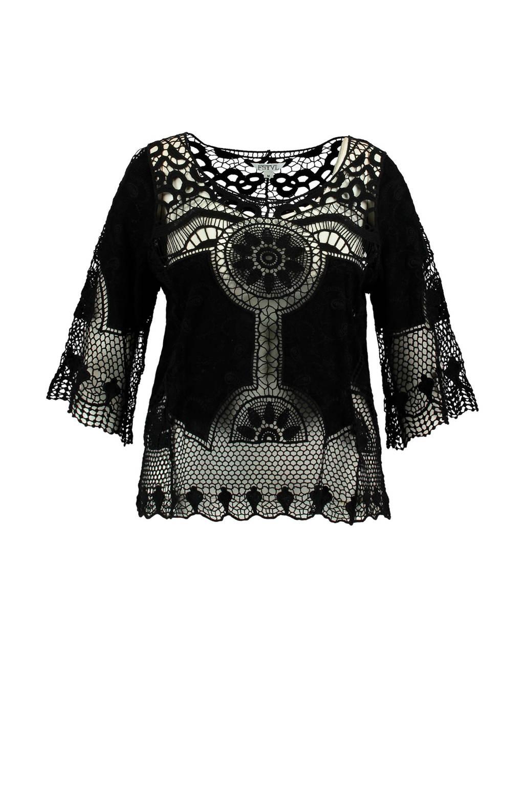 MS Mode semi-transparante kanten top zwart, Zwart
