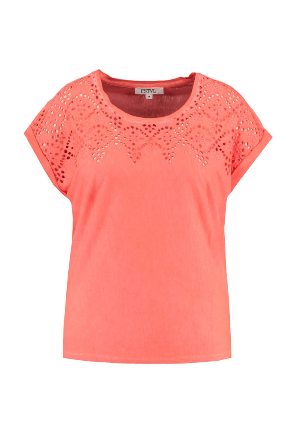 MS Mode T-shirt koraalrood, Koraalrood