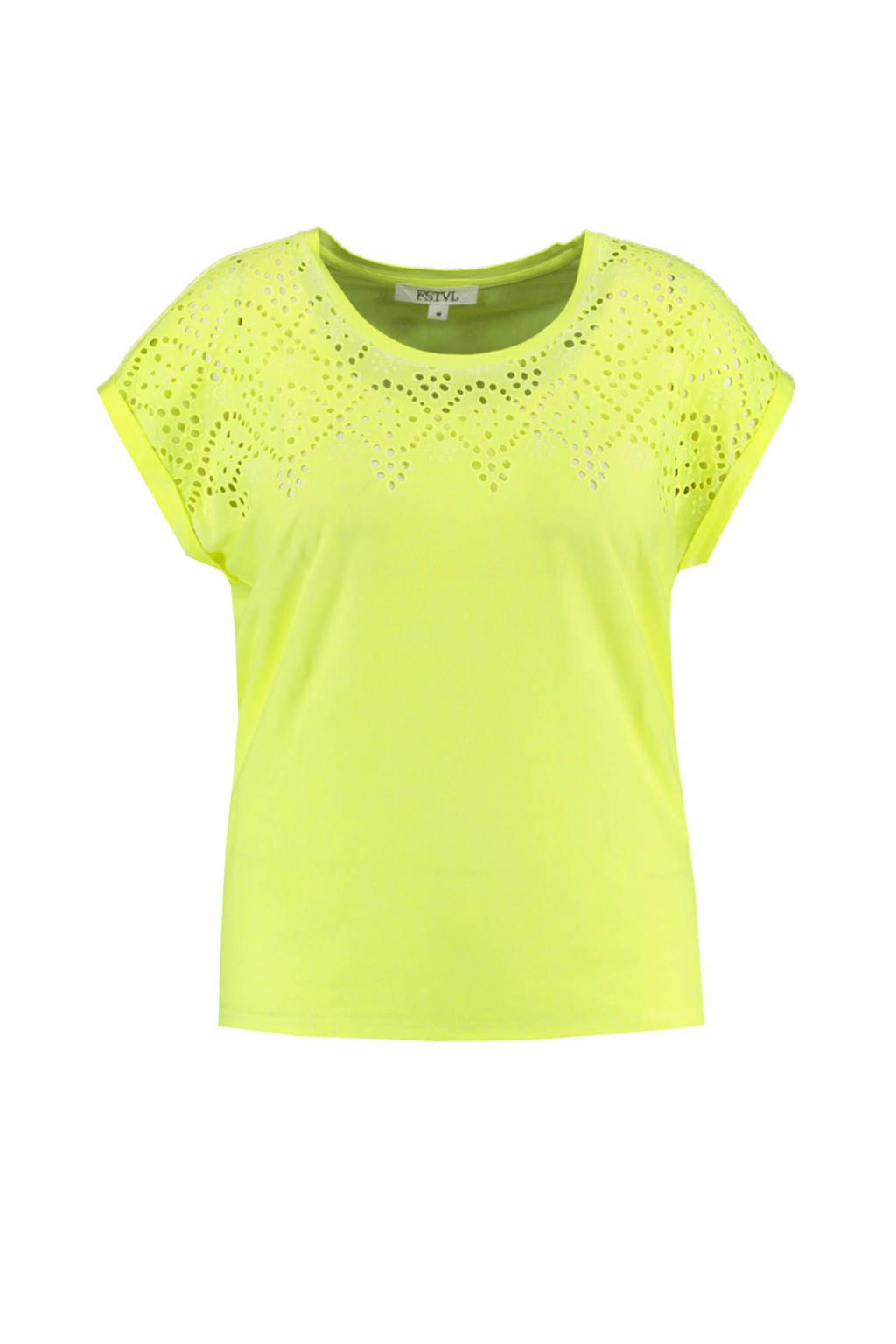 MS Mode T-shirt fluor geel, Fluor geel