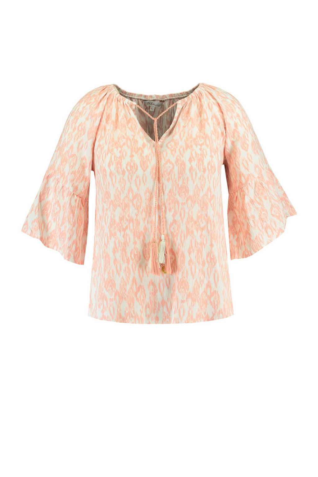 MS Mode top met all over print zalm, Zalm