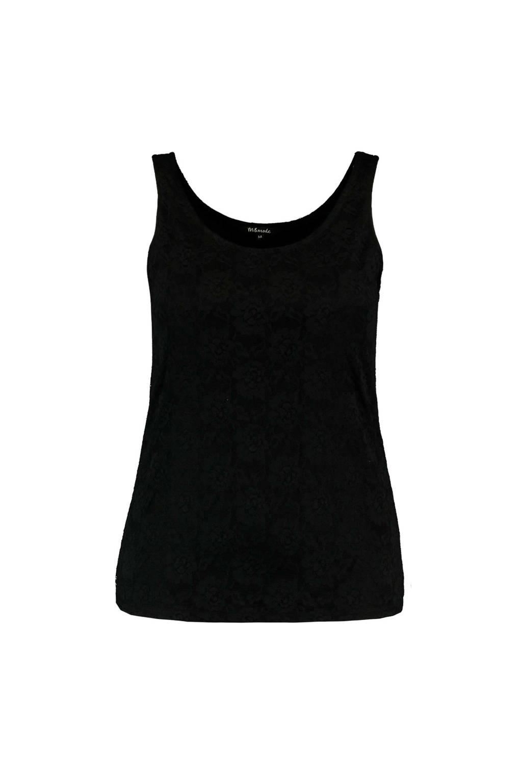 MS Mode kanten singlet zwart, Zwart
