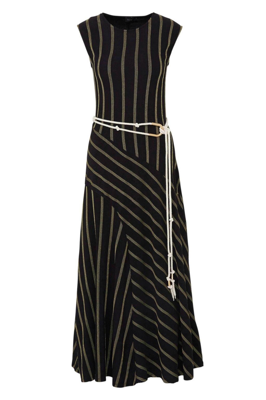 C&A gestreepte maxi jurk zwart, Zwart/goud
