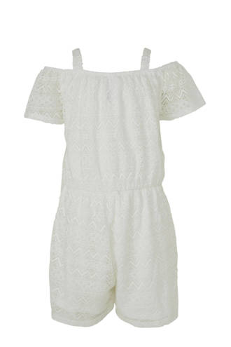 Here & There kanten off shoulder jumpsuit wit