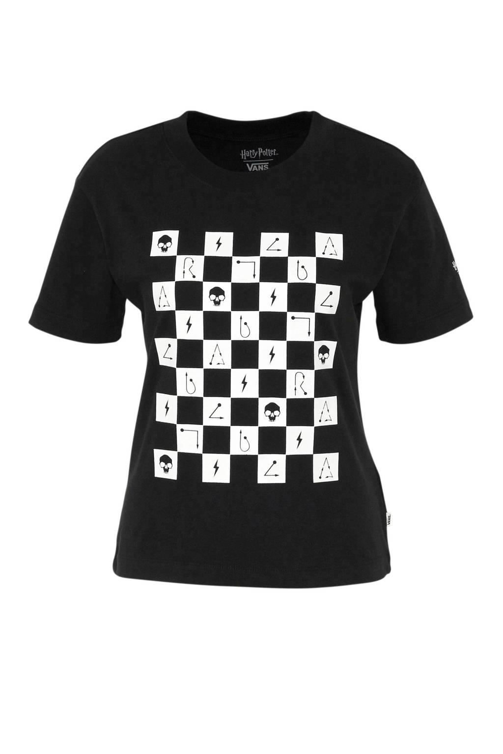 VANS Harry Potter T-shirt met printopdruk zwart/wit, Zwart/wit