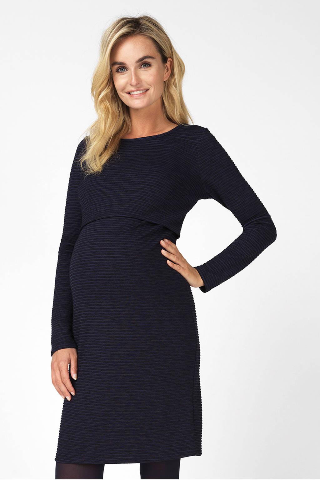 Noppies zwangerschaps- en voedingsjurk Zinnia met textuur blauw, Donkerblauw