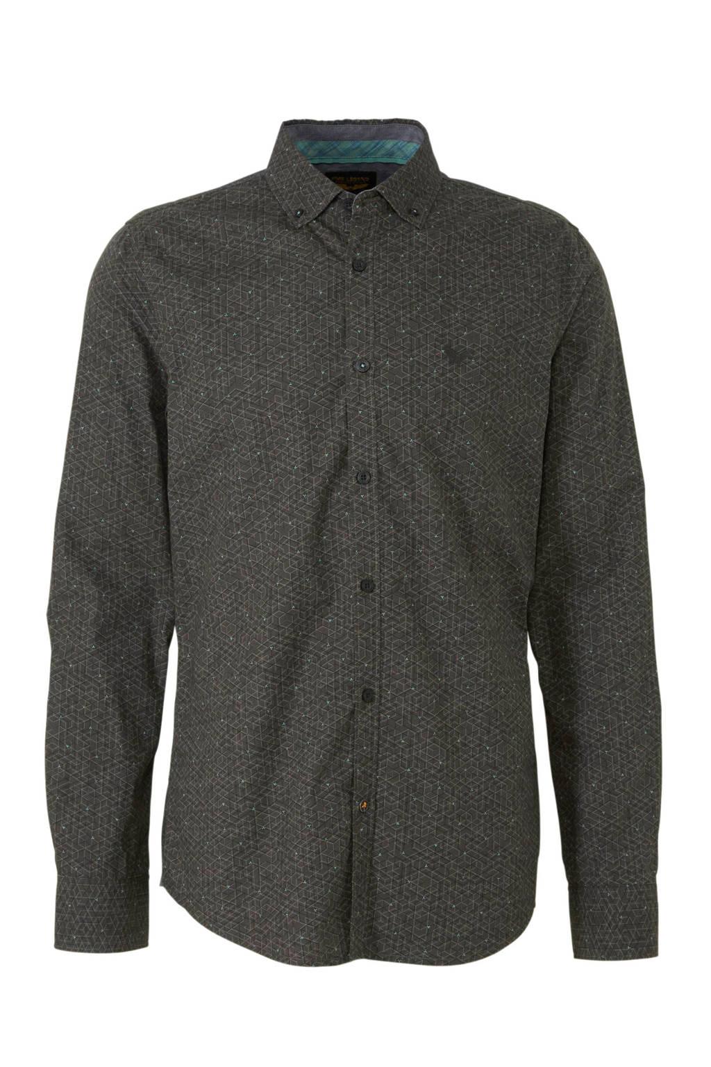 PME Legend regular fit overhemd met all over print bruin, Bruin