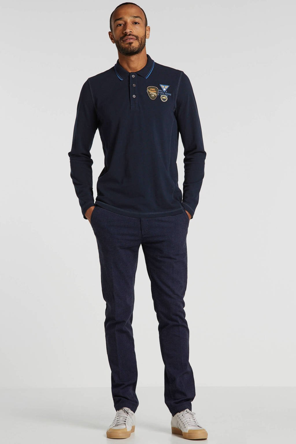 PME Legend regular fit polo met logo en patches donkerblauw, Donkerblauw