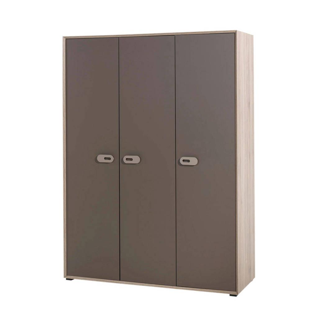 Vipack 3-deurs kledingkast Emiel, Eiken, bruin