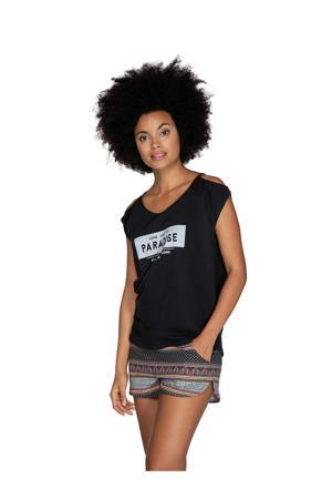 T-shirt met printopdruk en open detail zwart/wit