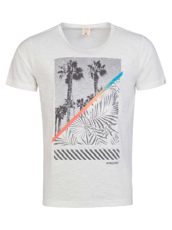 Protest T-shirt met print, Wit/grijs