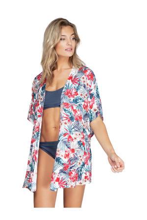 kimono met all over print en open detail wit/blauw/rood
