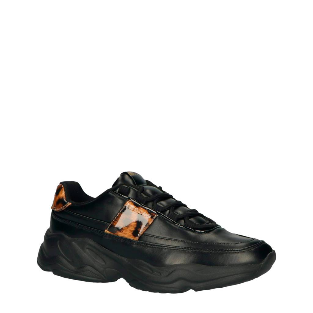 Björn Borg X310 LOW LEO W chunky sneakers zwart/panterprint, Zwart/bruin