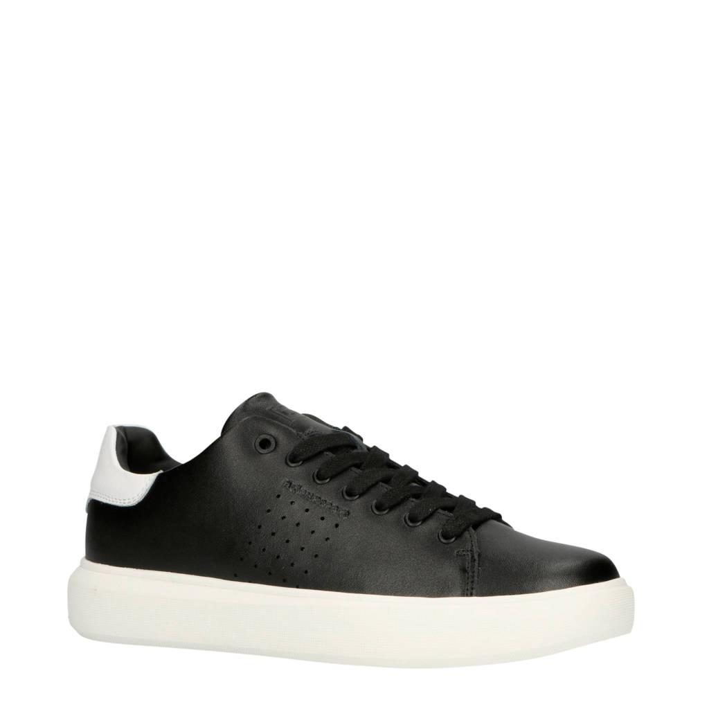 Björn Borg  T1500 LOW CLS M leren sneakers zwart/wit, Zwart/wit
