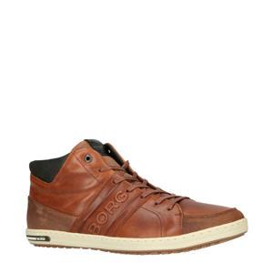 CURD MID M  hoge leren sneakers cognac