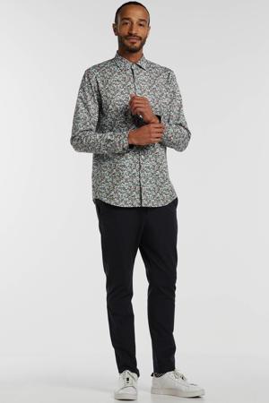 regular fit overhemd met all over print blauw/wit/grijs/roze