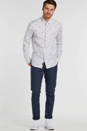 slim fit overhemd met all over print wit/zwart/groen/blauw