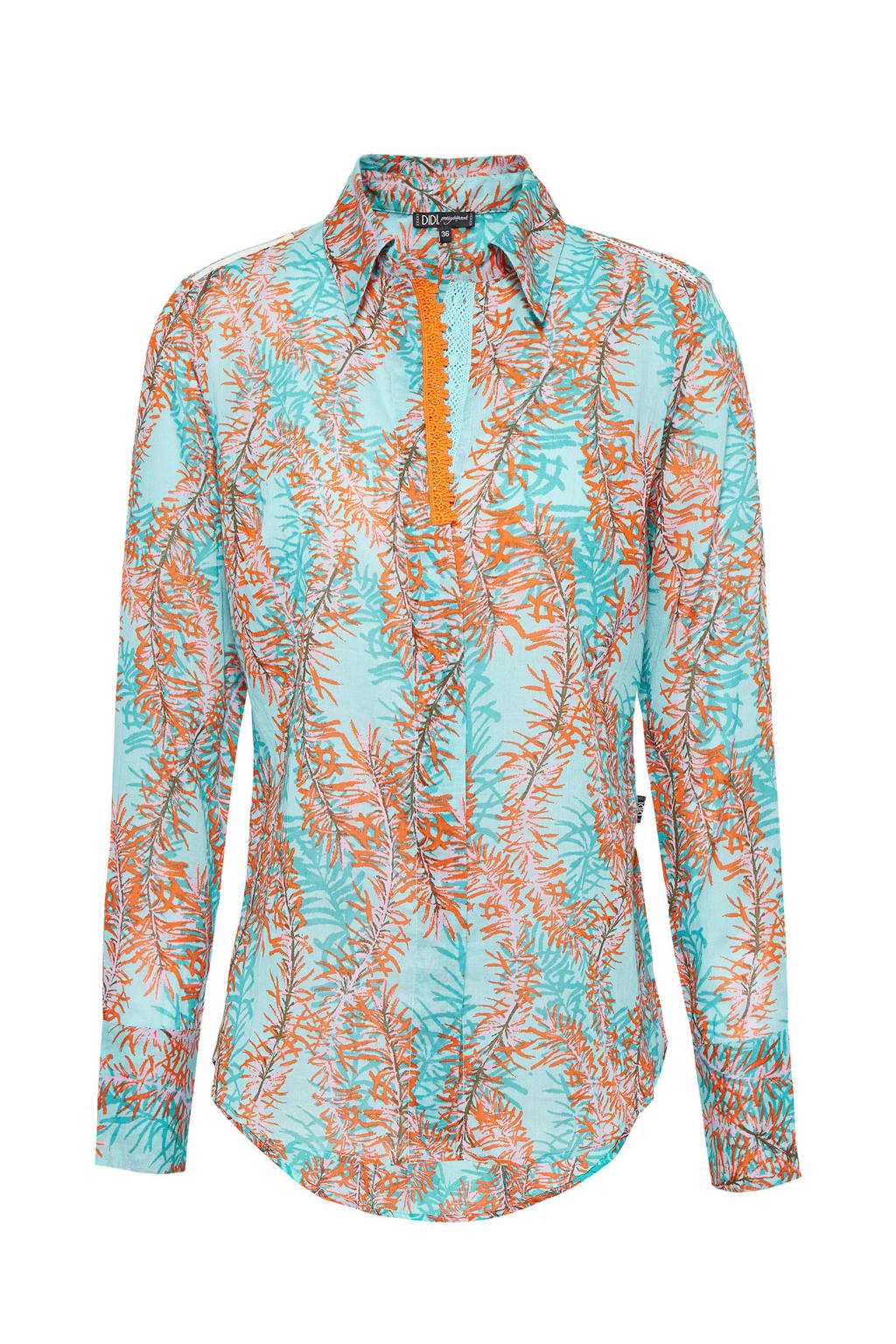 Didi blouse met all over print en kant mint, Mint