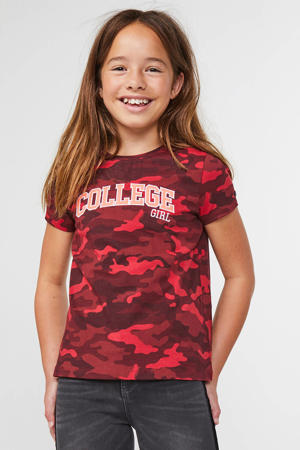 T-shirt met camouflageprint donkerrood/rood