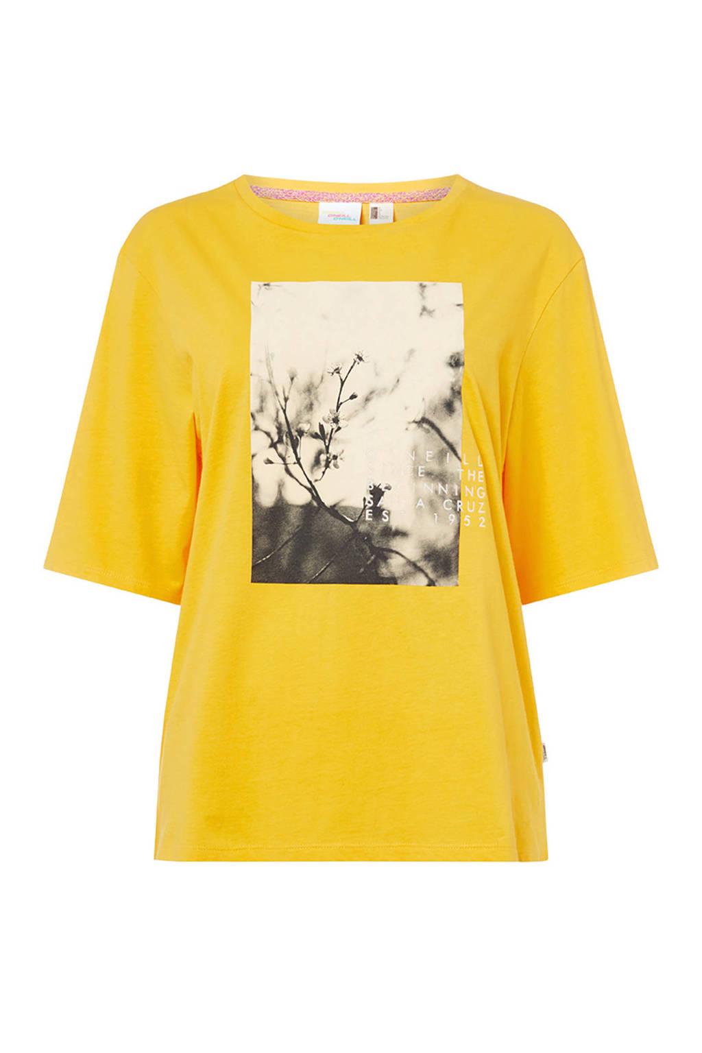 O'Neill T-shirt met printopdruk vivid yellow, Vivid Yellow