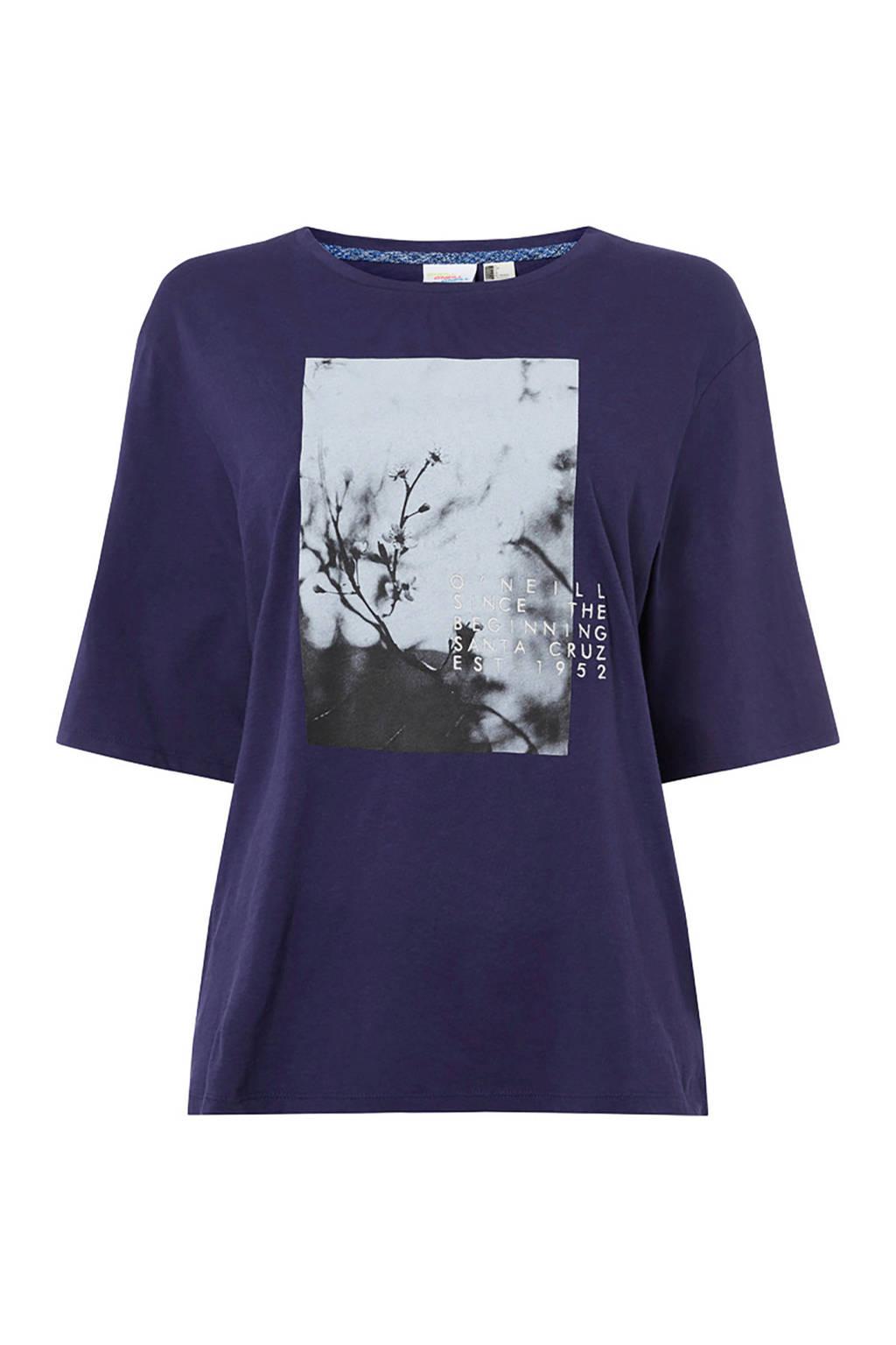 WE Fashion T-shirt met printopdruk donkerblauw, Donkerblauw