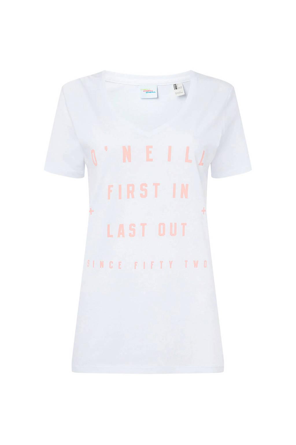 O'Neill T-shirt met tekst wit, Wit