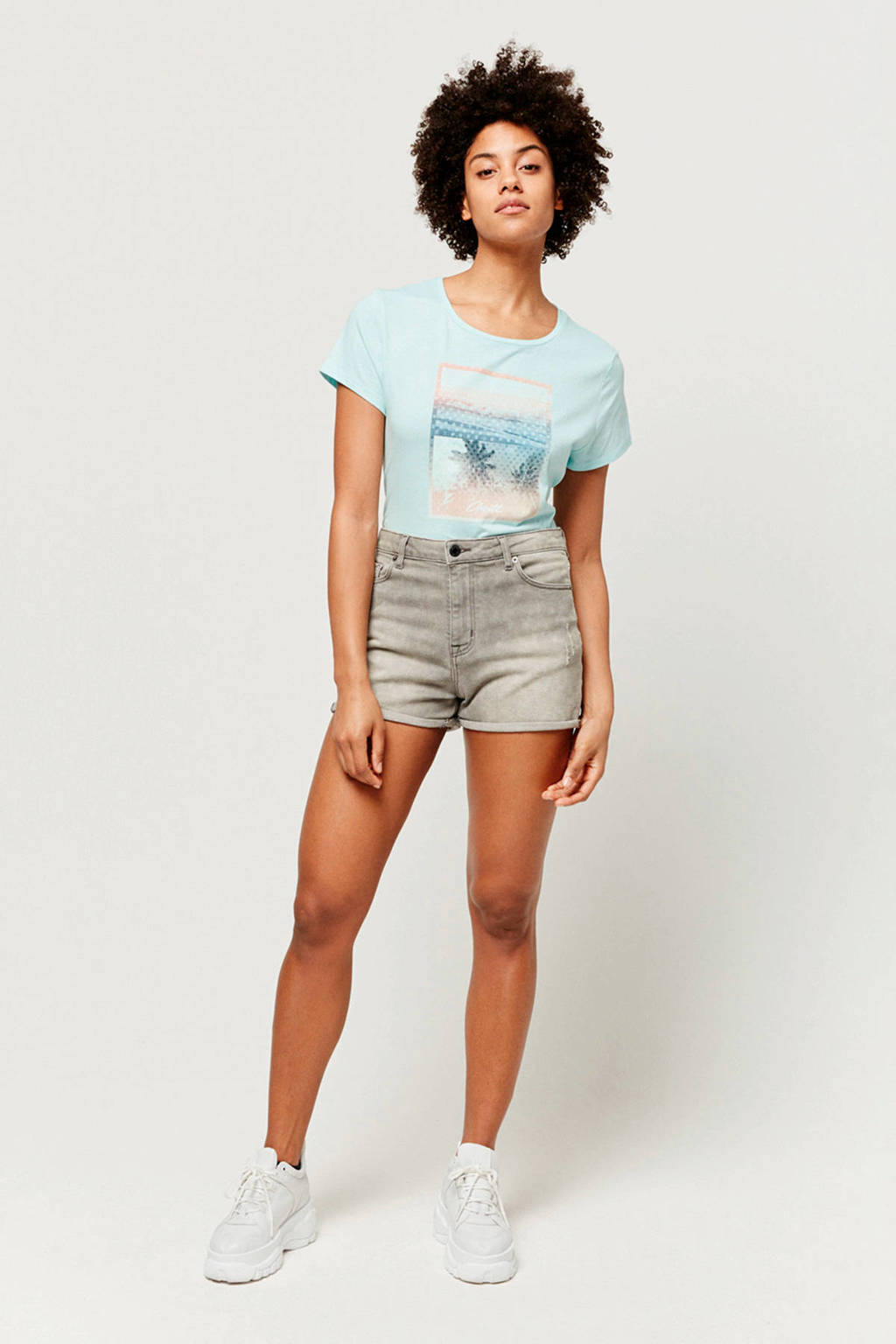 O'Neill T-shirt met printopdruk turquoise, Turquoise