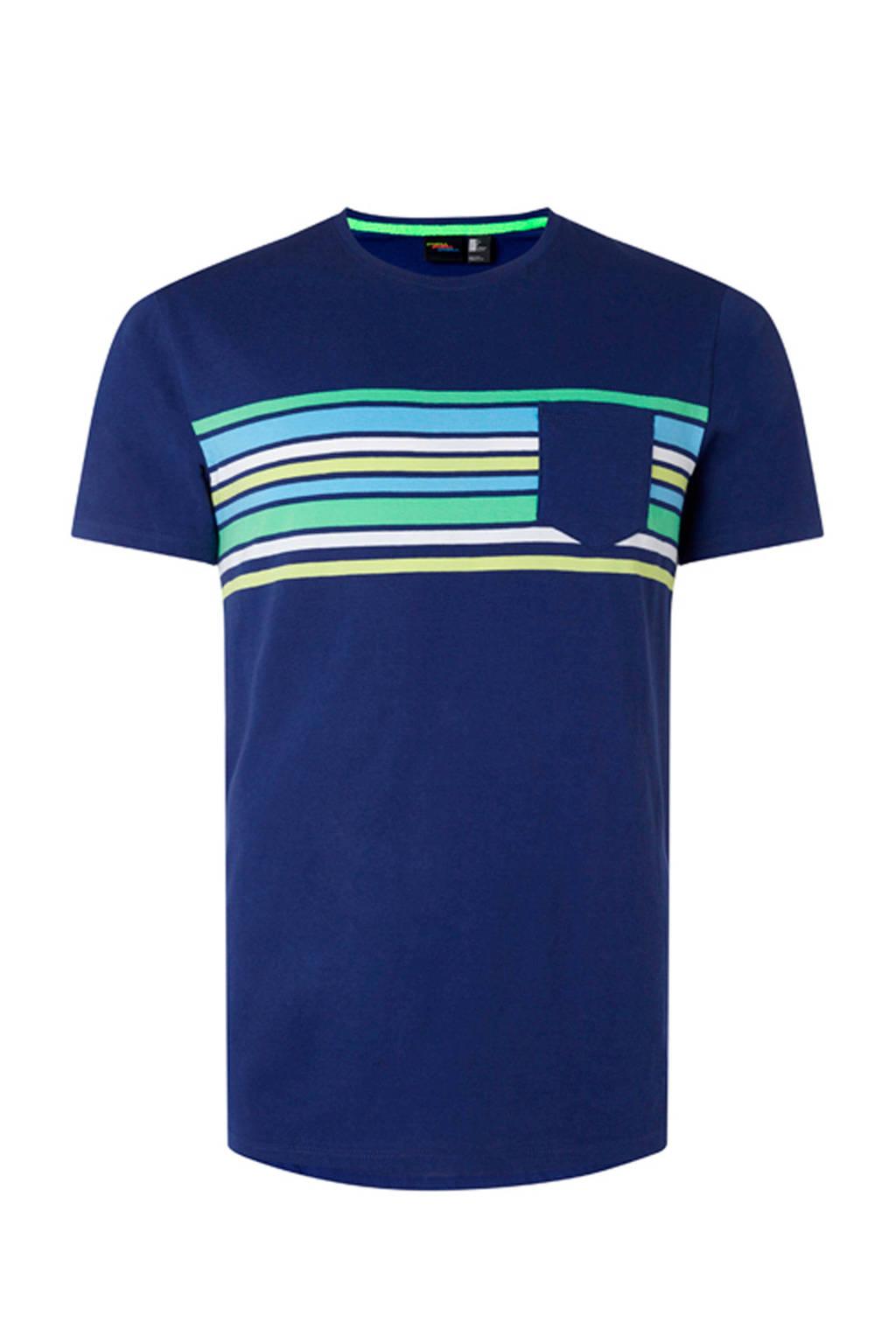 WE Fashion T-shirt met gestreept dessin, Donkerblauw