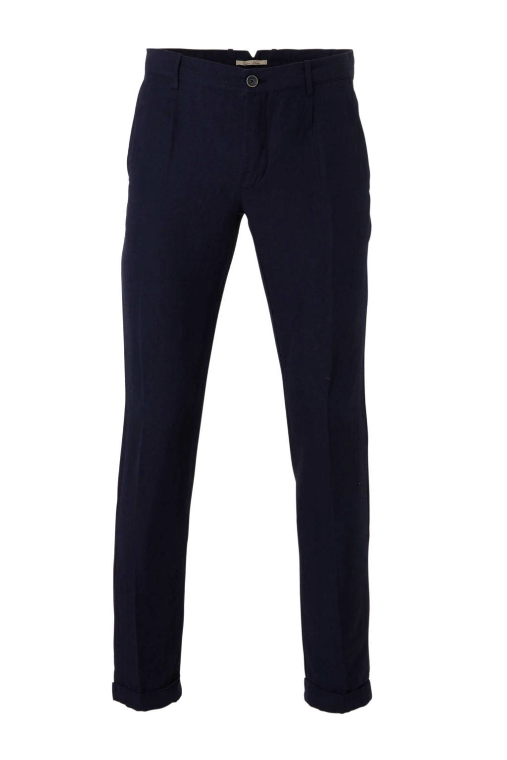Mango Man regular fit chino met linnen donkerblauw, Donkerblauw