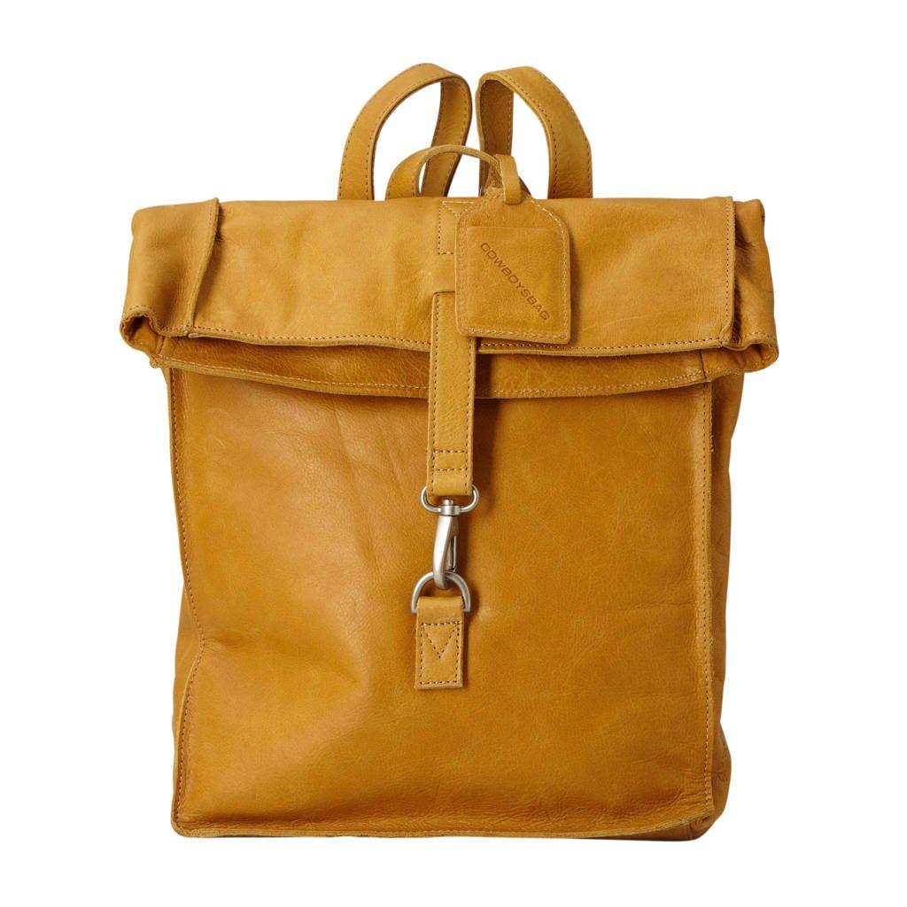 Cowboysbag  15 inch leren rugzak Doral okergeel, Okergeel