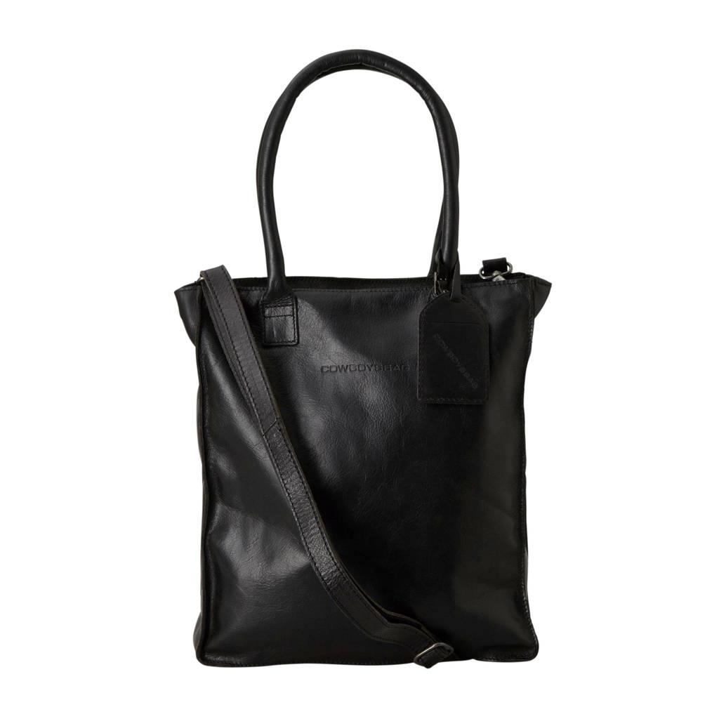 Cowboysbag  13.3 inch Woodridge leren shopper laptoptas, Zwart