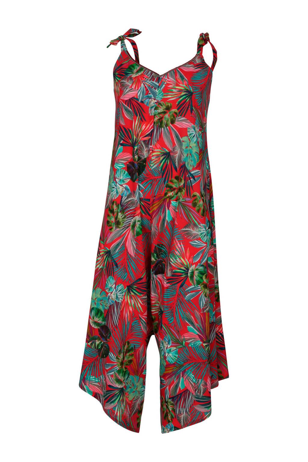 Cassis jumpsuit met bladprint rood, Rood