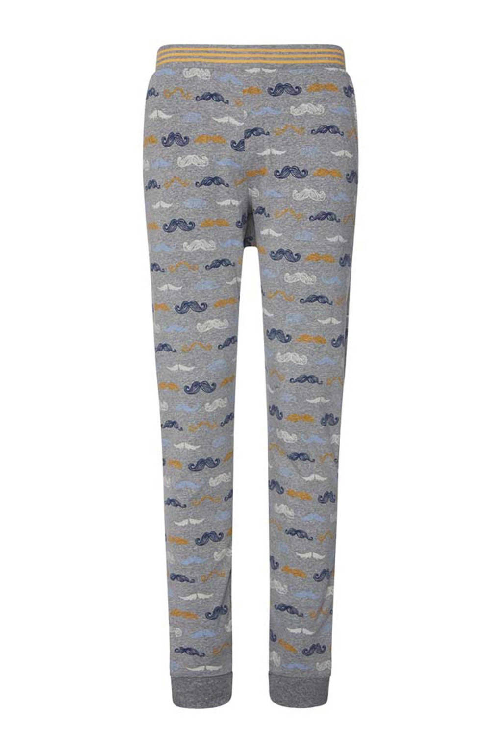 Charlie Choe pyjamabroek Monsieur met all over print grijs, Grijs/geel