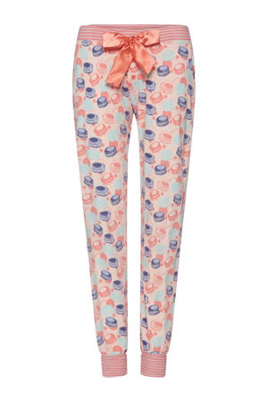 pyjamabroek Eat Sleep Dance Repeat met all over print roze