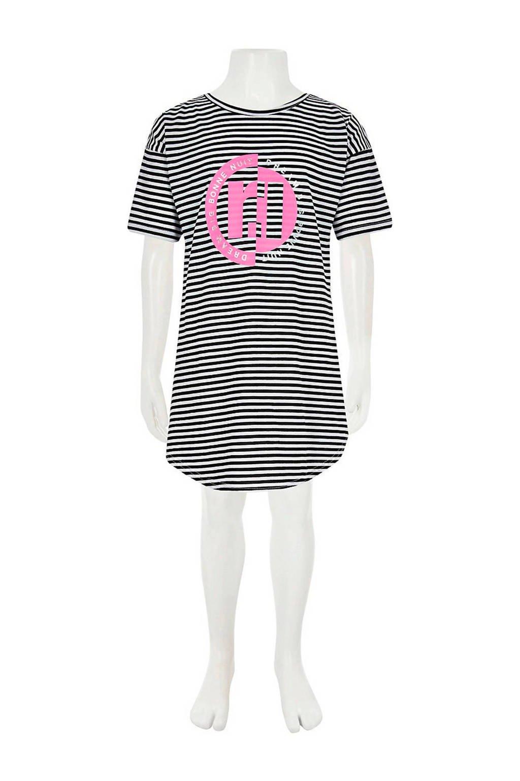 River Island gestreepte nachthemd zwart/wit, Zwart/wit/roze
