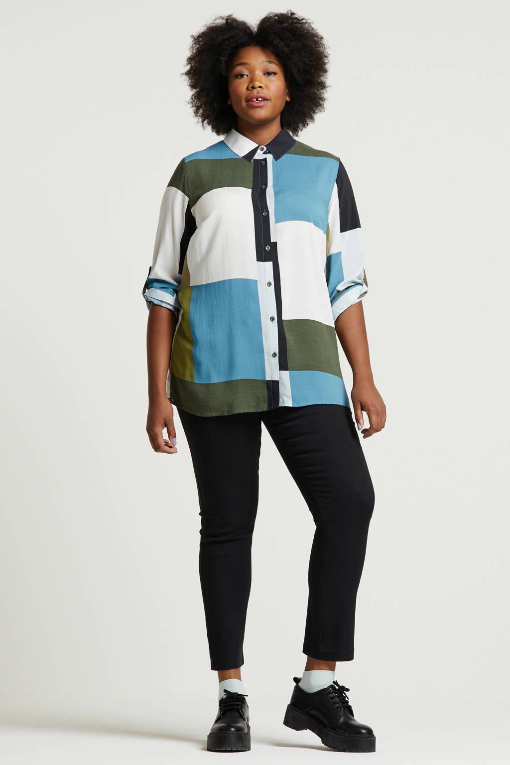 ca77108138a Ulla Popken geruite blouse blauw/groen/wit, Blauw/groen/wit