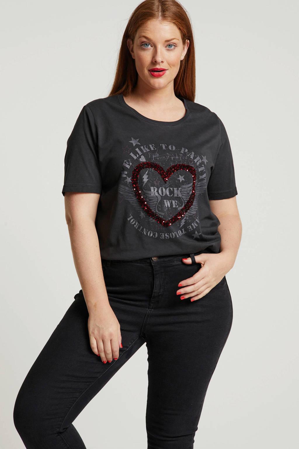 Ulla Popken T-shirt met printopdruk en pailletten zwart, Zwart