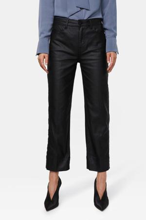 coated cropped straight fit broek zwart