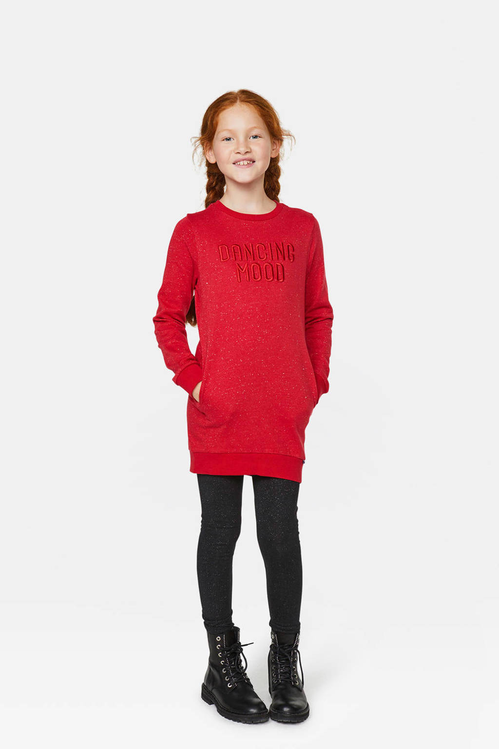 WE Fashion sweatjurk met tekst rood, Rood