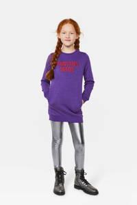 WE Fashion sweatjurk met tekst en borduursels paars/rood, Paars/rood