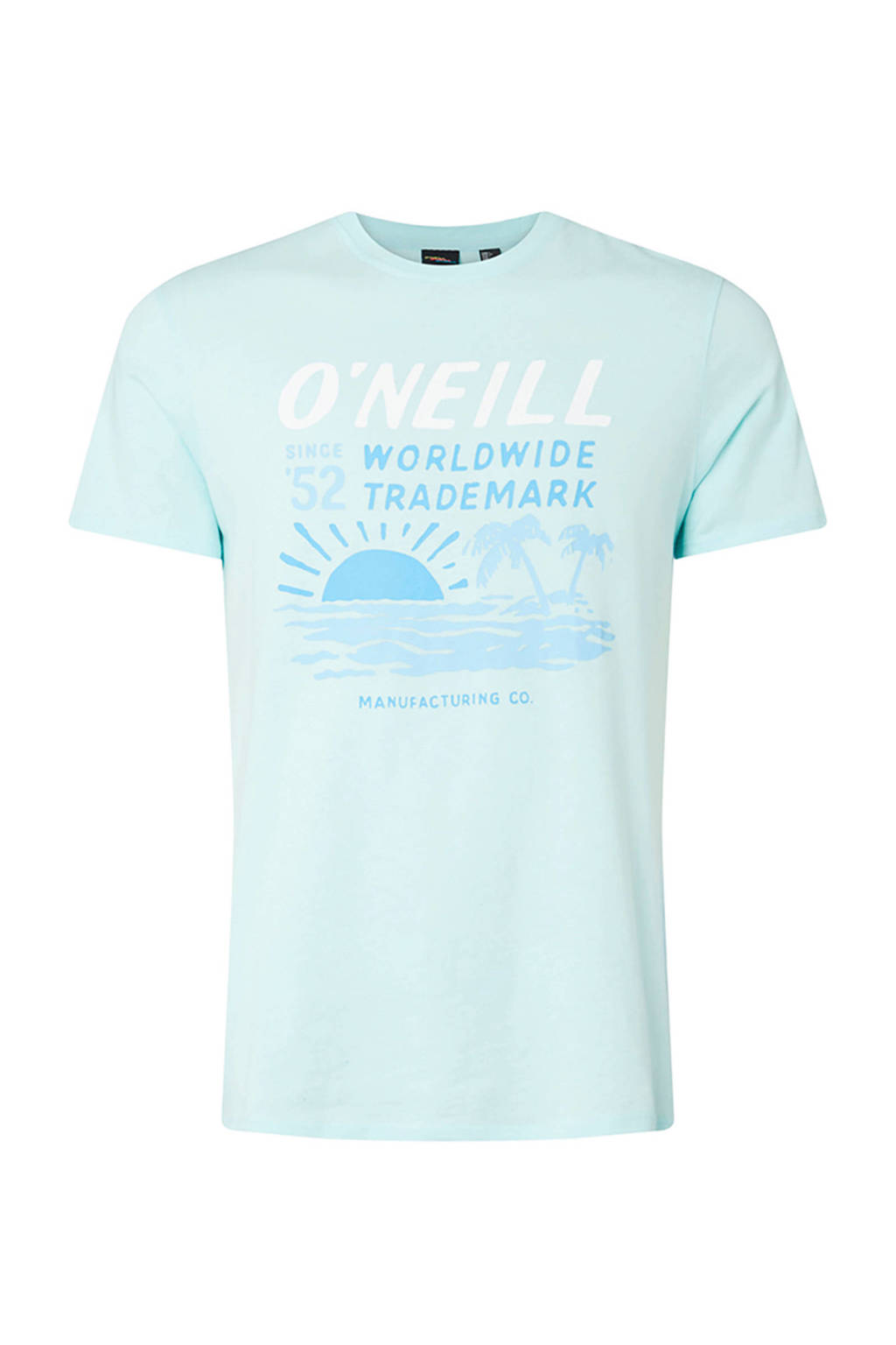 WE Fashion regular fit T-shirt met printopdruk, Lichtblauw