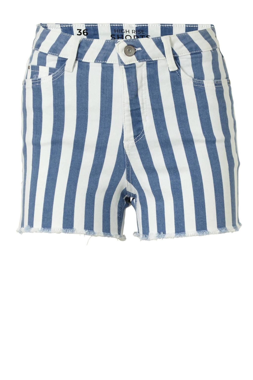 C&A Clockhouse gestreepte high waist slim fit jeans short, Blauw/ecru