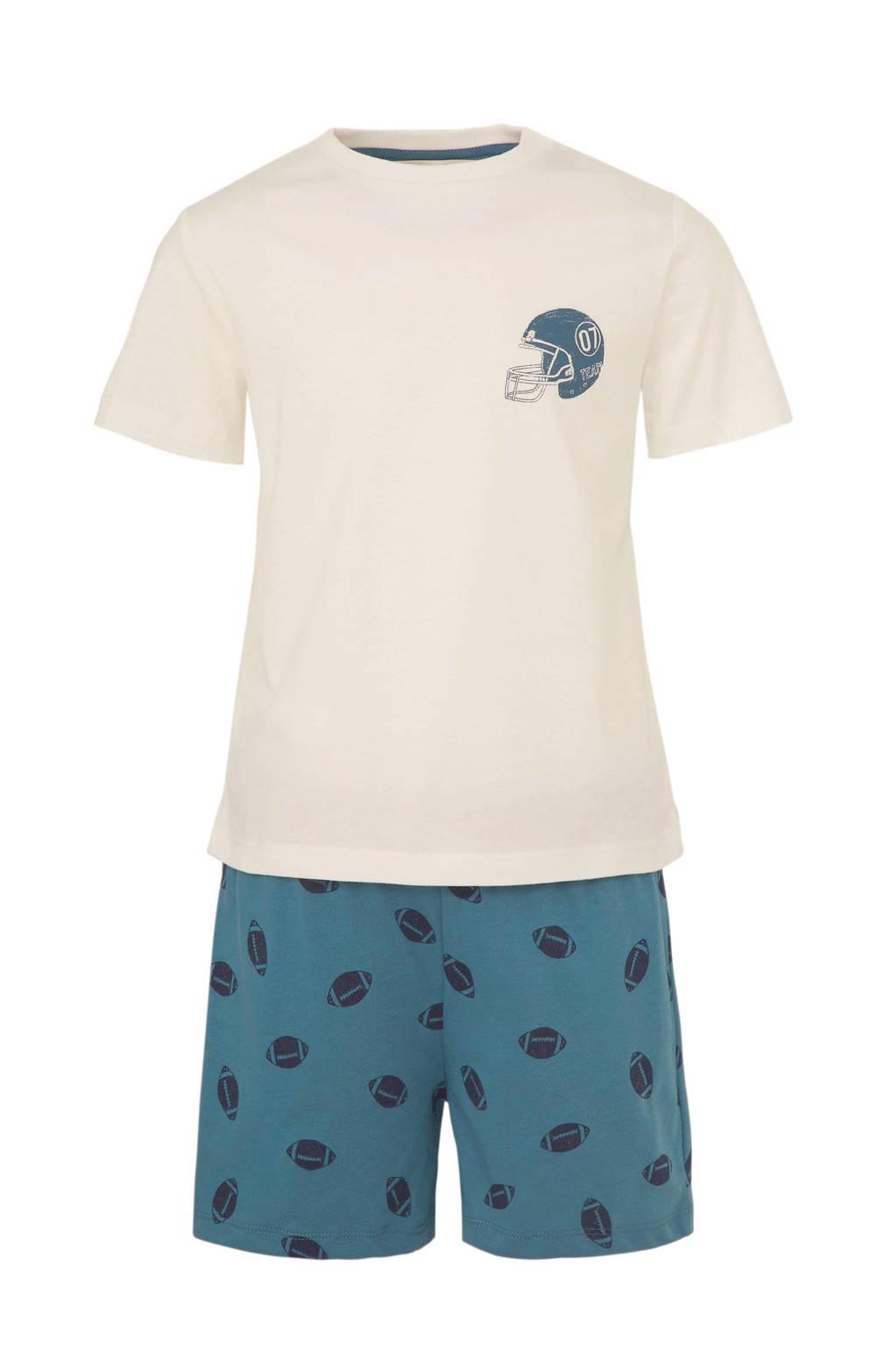 Mango Kids   shortama met ballen ecru/blauw, Ecru/blauw