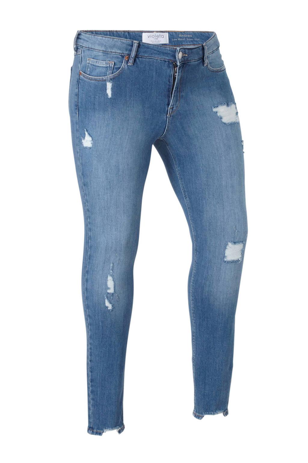Violeta by Mango low waist slim fit jeans Andrea met slijtage, Stonewashed